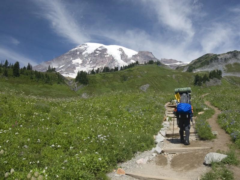 Backpacker beginning hike on trail in Mount Rainier National Park