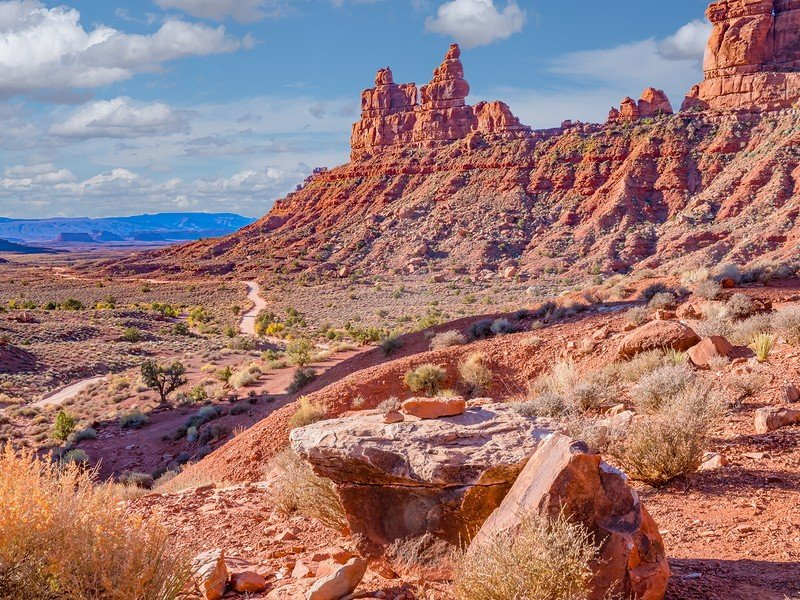 Red rock formations in Valley of the Gods in Utah
