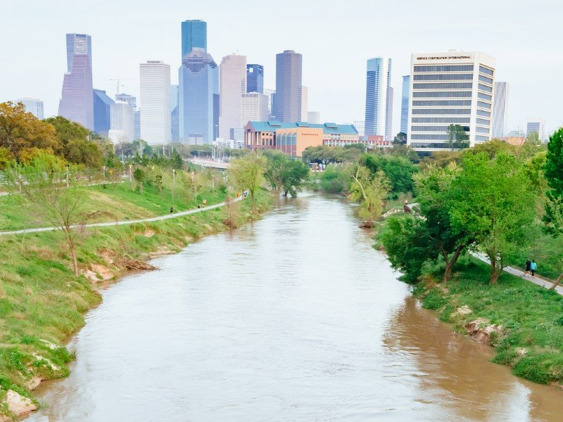 Brazos river and Houston Downtown at Buffalo Bayou park