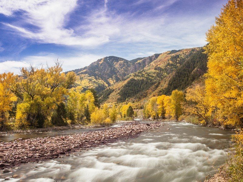 Roaring Fork River near Carbondale, Colorado in the fall