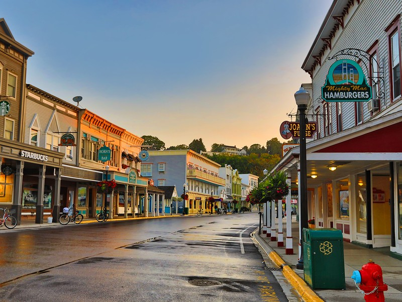 The main street of Mackinac Island is full of quaint shops and restaurants