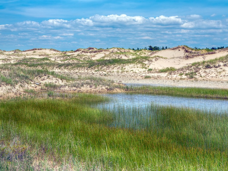 A pond rests between sand dune ridges under a blue sky with clouds at Michigan's Ludington State Park