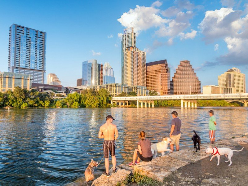 People and dogs with a view of Austin Texas downtown skyline