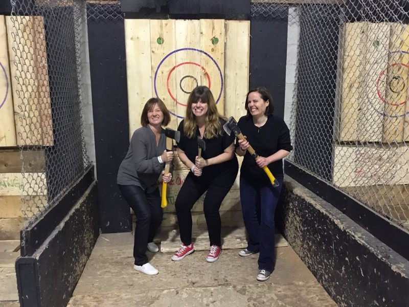 Ladies at BATL - Backyard Axe Throwing League