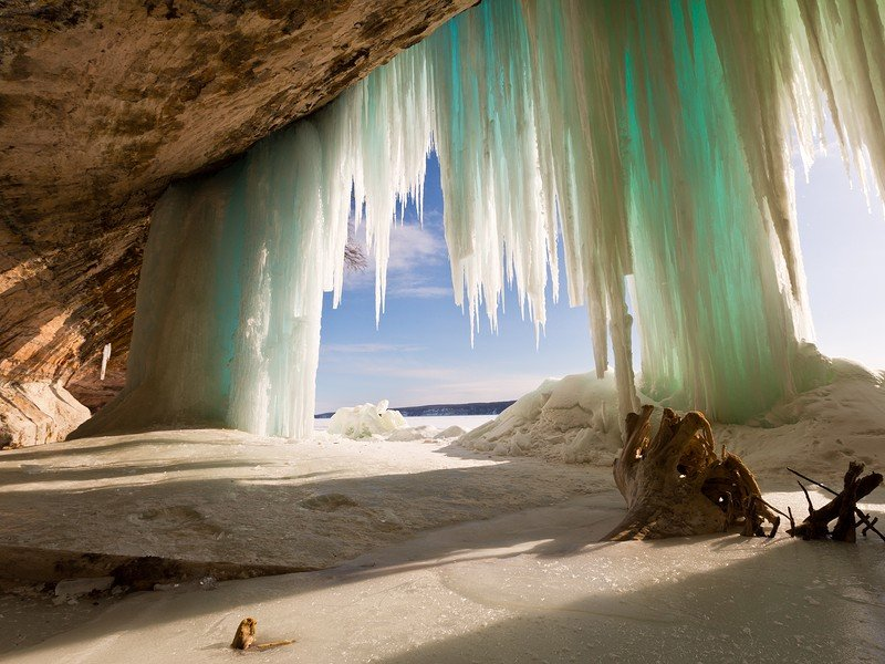 Grand Island ice curtains on Lake Superior near Pictured Rocks National Lakeshore in Munising Michigan