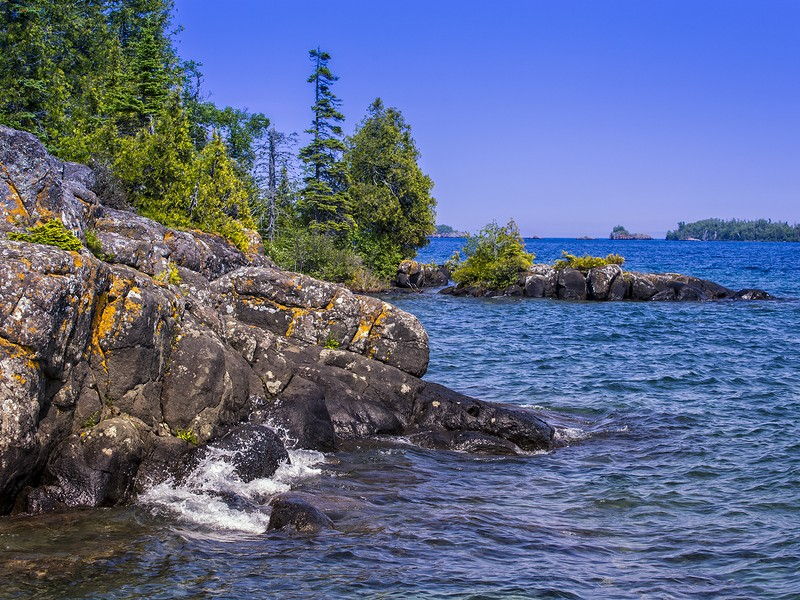 The Lake Superior Shoreline on a bright sunny day, in Isle Royale National Park, Michigan