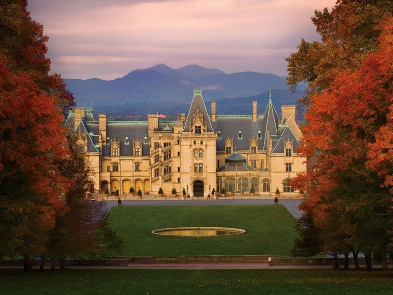 One of the best places to see the changing leaves in Asheville is at Biltmore Estate.