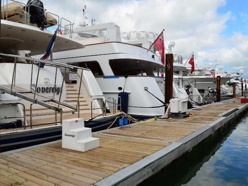 Luxury yachts on display at the Miami Beach International Boat Show