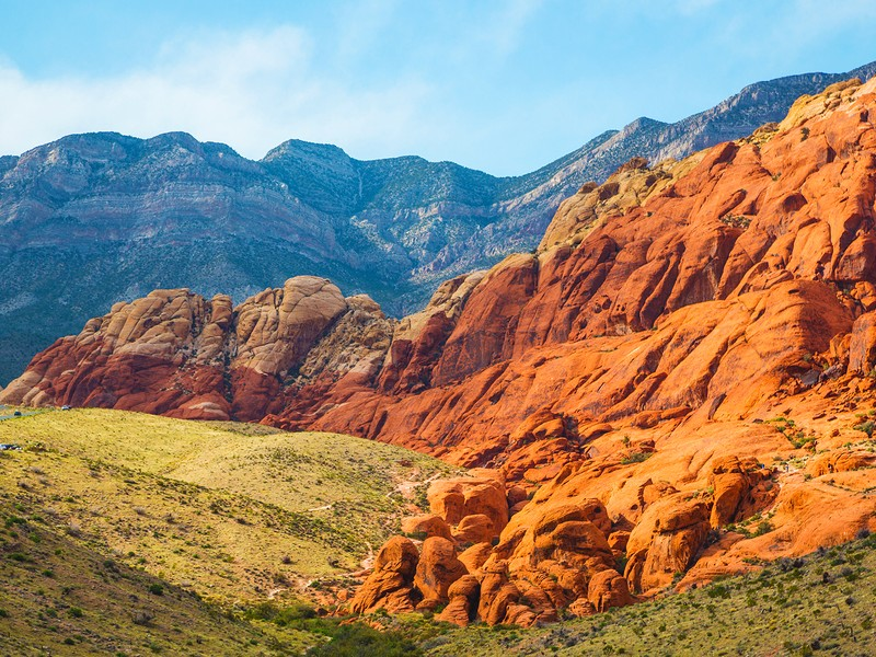 Rocky desert landscape at sunset, Red Rock Canyon National Recreation Area