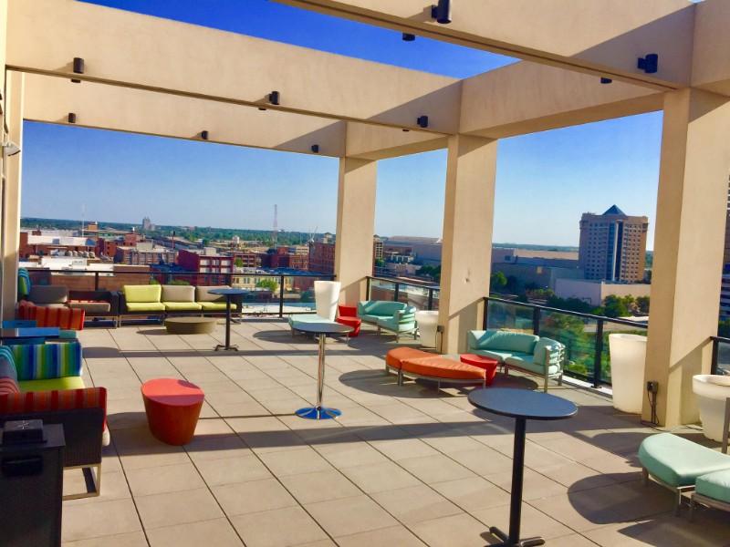 Outside lounge at Aloft Oklahoma City Downtown-Bricktown