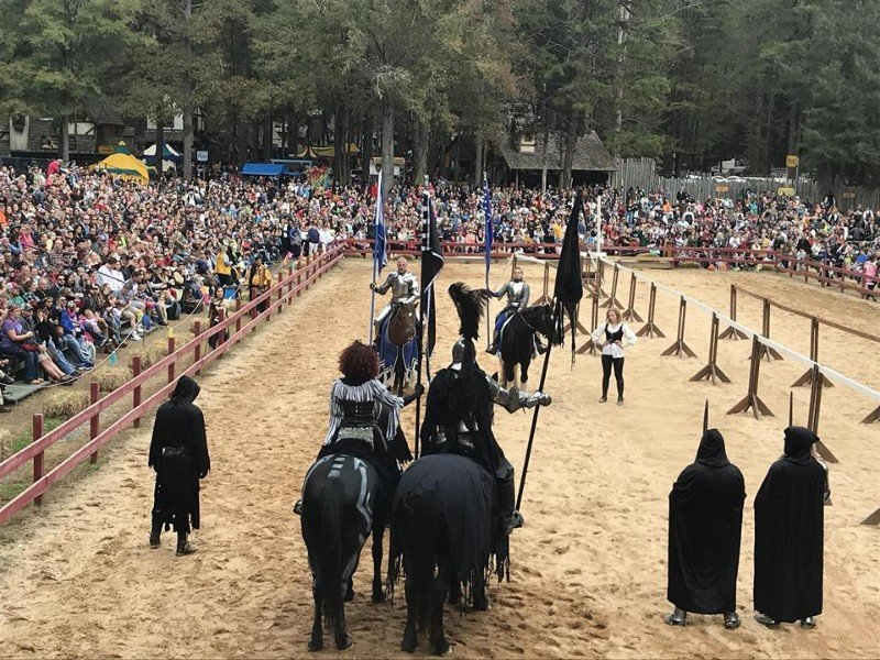 Attractions at the Carolina Renaissance Festival include a live jousting tournament.
