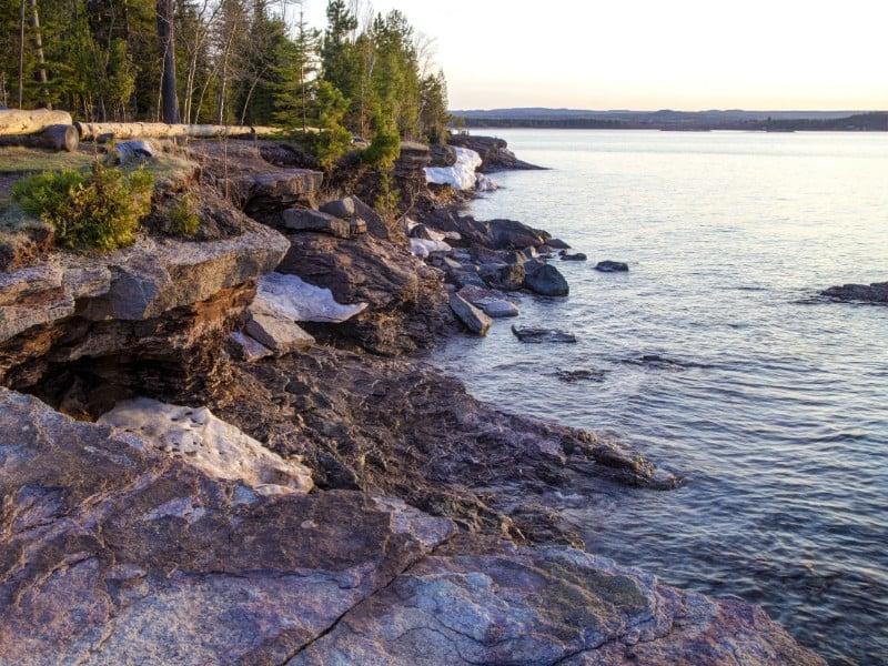 The rugged Lake Superior shoreline in Presque Isle Park in Marquette, Michigan.