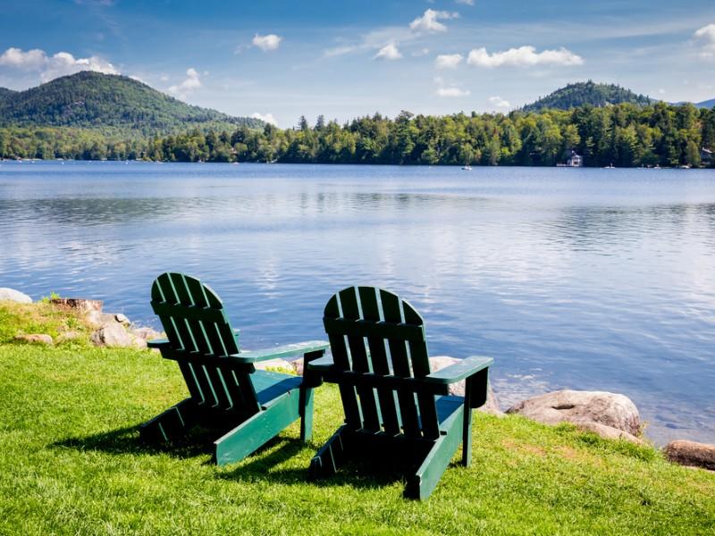 Chairs alongside Lake Placid New York
