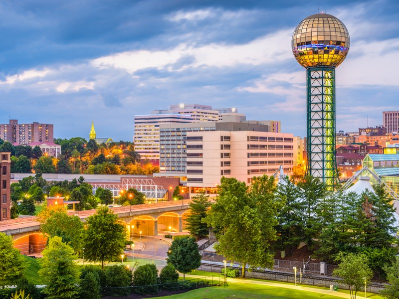 The beautiful city of Knoxville is located right on the banks of the Tennessee River.