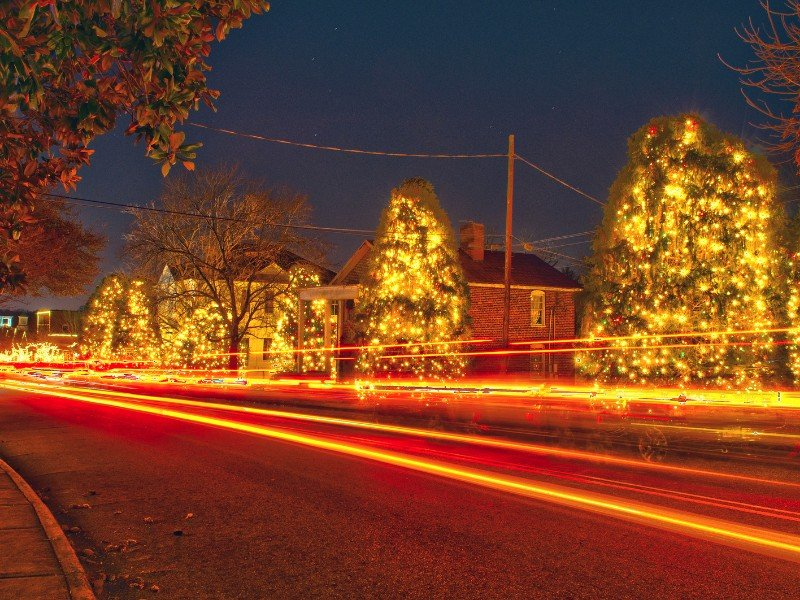 McAdenville, NC is known as Christmas Town USA because of its expansive light display which includes more than 500,000 lights!