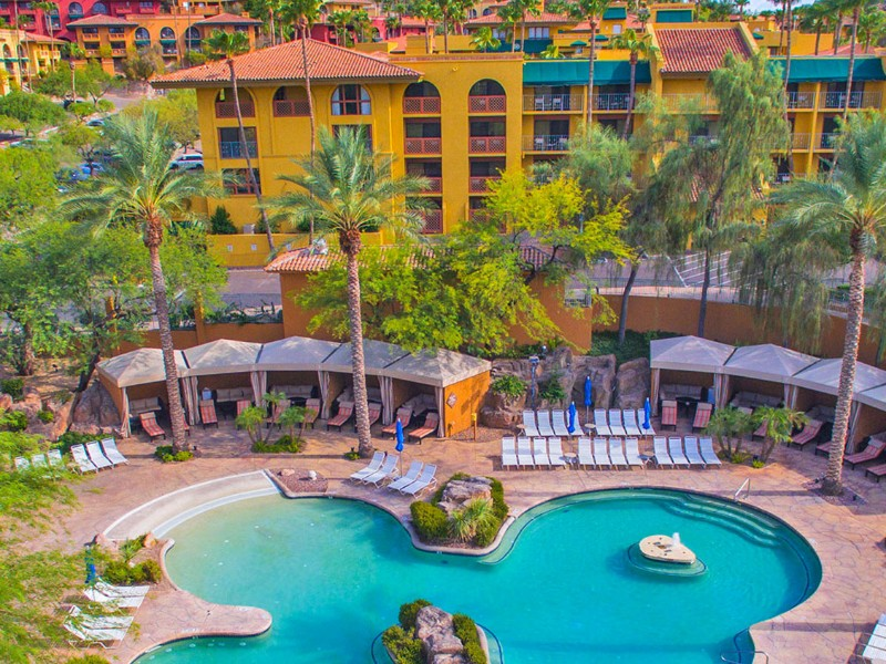 Falls Water Village at the Pointe Hilton Tapatio Cliffs Resort includes free-form swimming pools and private cabanas.