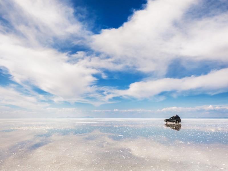Salar de Uyuni, salt flats in the wet season, Bolivia