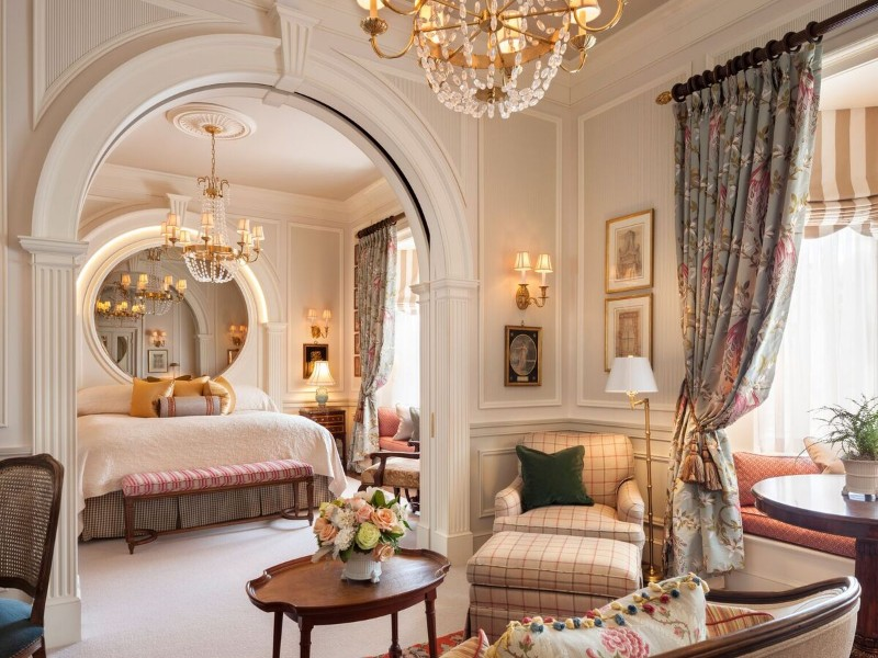 Guest rooms at the Inn at Little Washington were designed by a London stage and set designer.