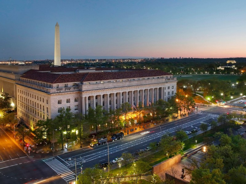 Select rooms at the JW Marriott Washington DC offer views of the city and the Washington Monument.