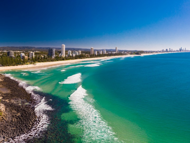 Aerial view of  Burleigh Heads, Gold Coast, Queensland, Australia