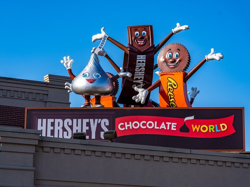At Hershey's Chocolate World, you can take a chocolate-making tour and design your own candy bar.