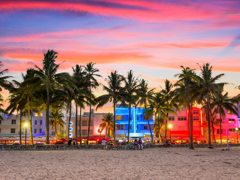 The South Beach district of Miami draws visitors from all over the world.
