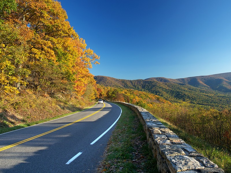 Skyline Drive in Shenandoah National Park travels for 105 miles along the crest of the Blue Ridge Mountains.