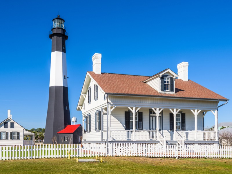 You can enjoy views of the whole island from the top of the lighthouse at the Tybee Island Light Station.