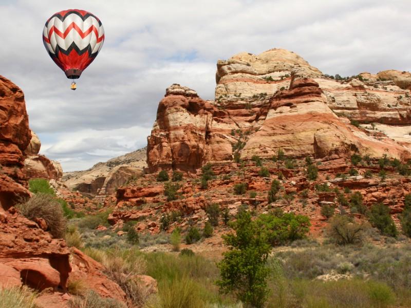 Hot Air Balloon Over Utah Landscape