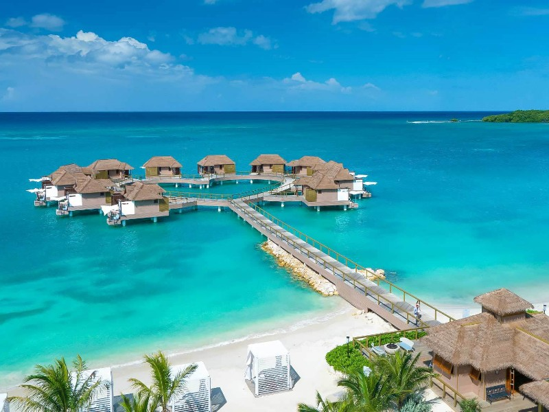 Overwater bungalows at Sandals South Coast, Whitehouse, Jamaica