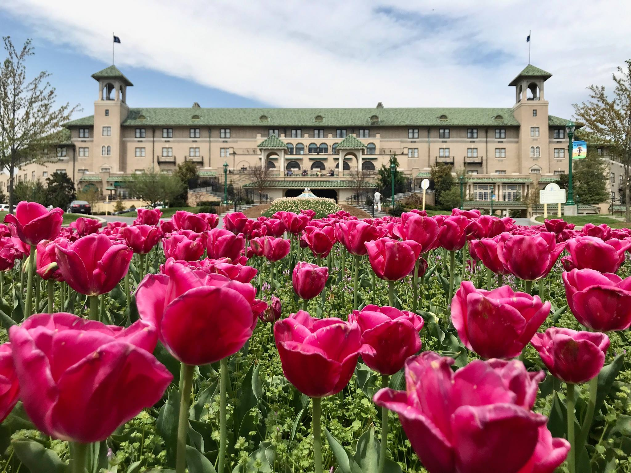 The Hotel Hershey in springtime with flowers in bloom, Hershey, Pennsylvania