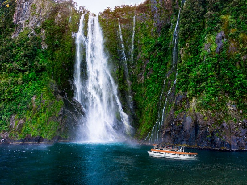 Stirling Falls, one of South Island New Zealand's most spectacular waterfalls