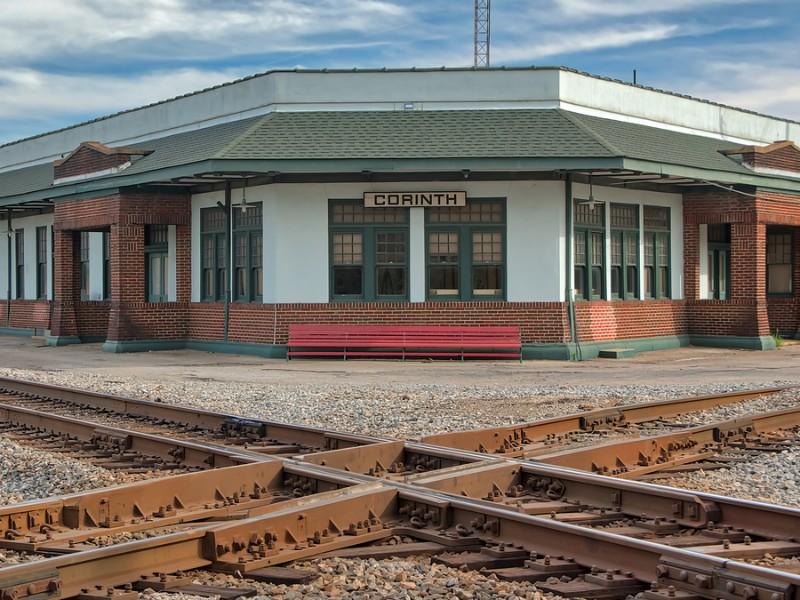 Railroad crossroads in Corinth, Mississippi