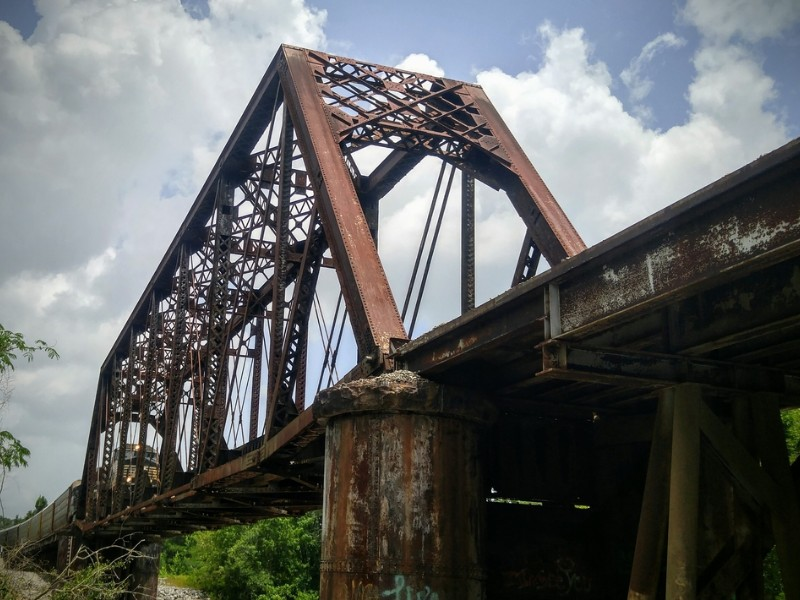 Train on Railroad Bridge over the Leaf River in Hattiesburg, Mississippi
