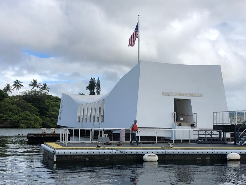 USS Arizona Memorial from boat ride