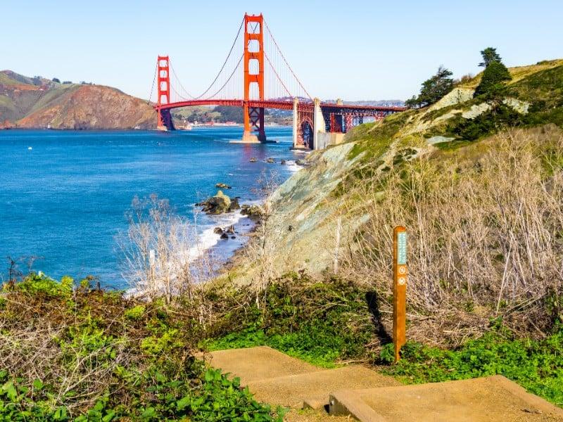 View towards Golden Gate bridge from the coastal trail, Presidio Park, San Francisco,