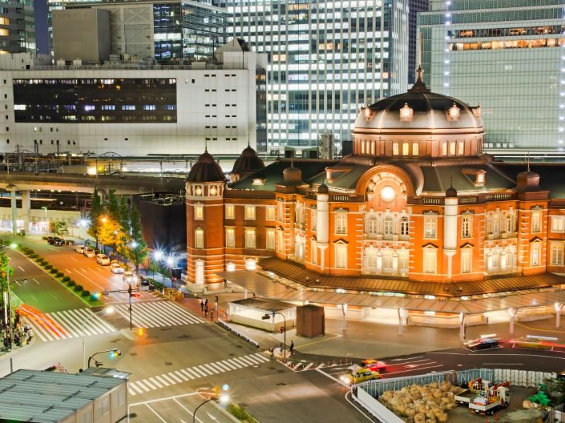 Night View Tokyo Station in Tokyo City, Japan
