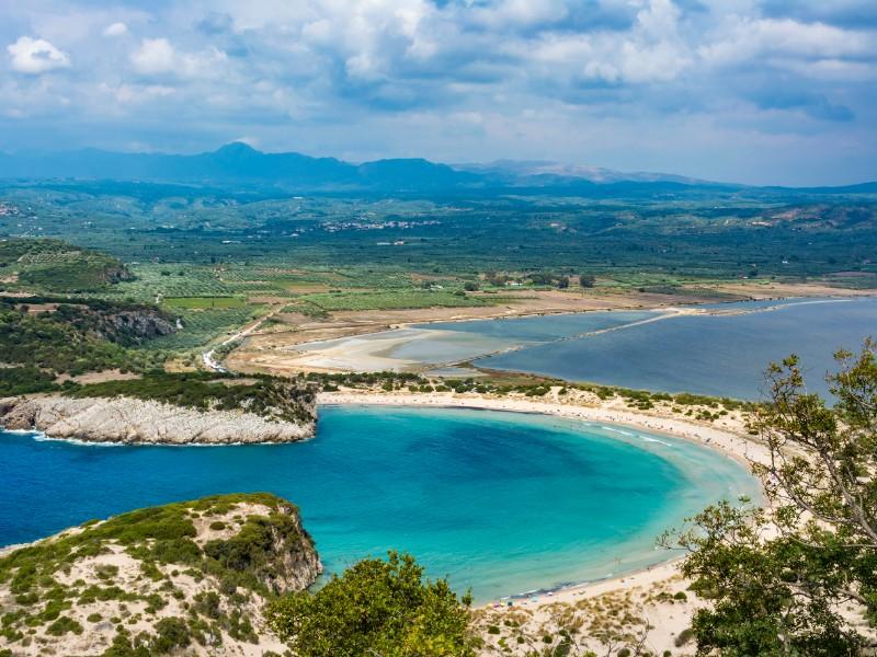 Voidokilia beach in the Peloponnese region of Greece