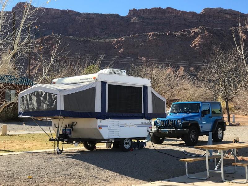Camping in Moab in a pop-up camper