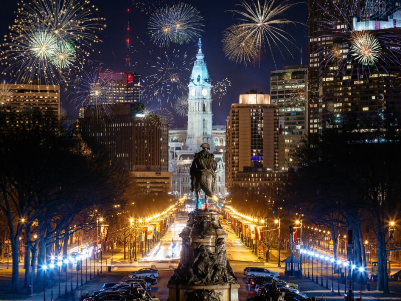 Philadelphia city skyline with fireworks, view from art museum
