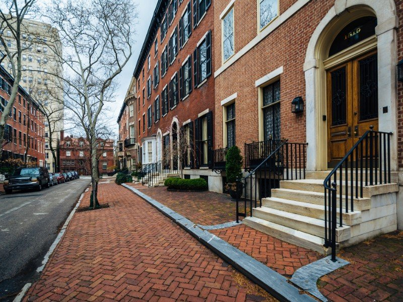 Row houses along Delancey Place, near Rittenhouse Square in Philadelphia