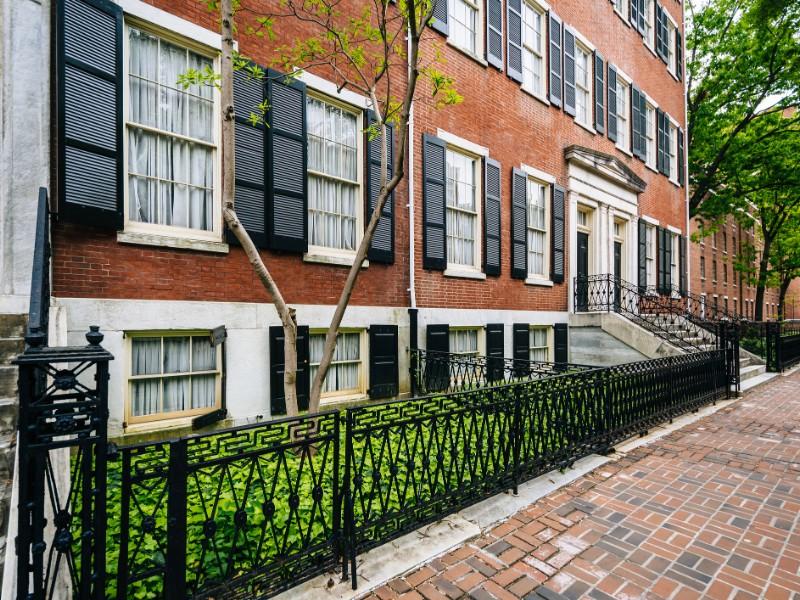 Historic brick buildings along Spruce Street in Washington Square West, Philadelphia