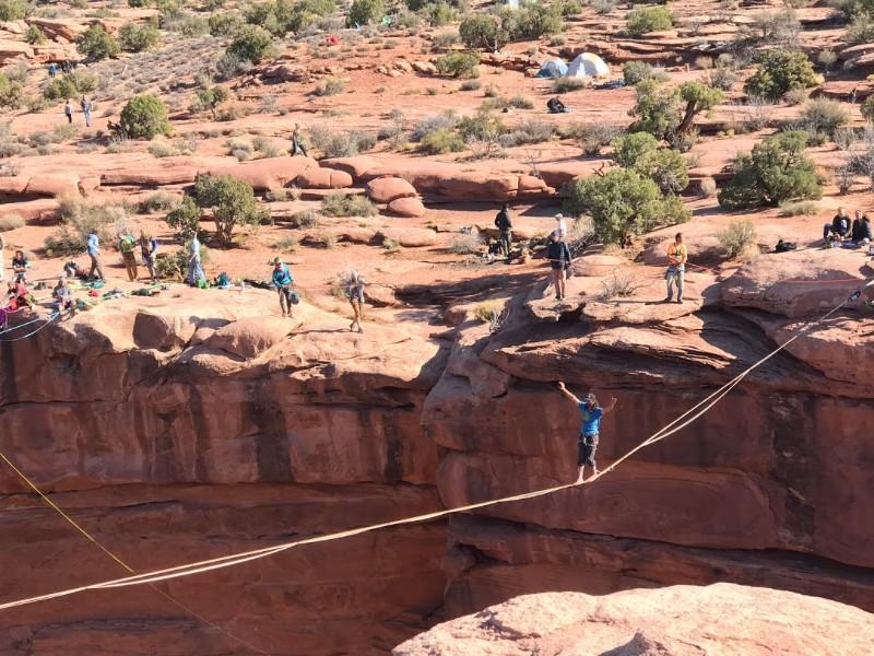 Slacklining event near Moab