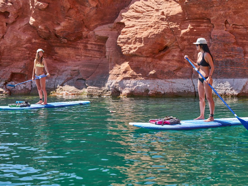 SUP through tranquil aquamarine waters at Sand Hollow State Park.