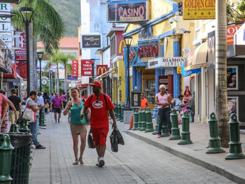 Front Street in Philipsburg, Saint Martin