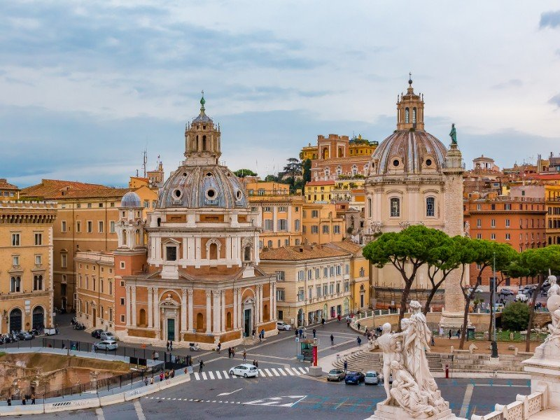 Rome skyline and domes of Santa Maria di Loreto church