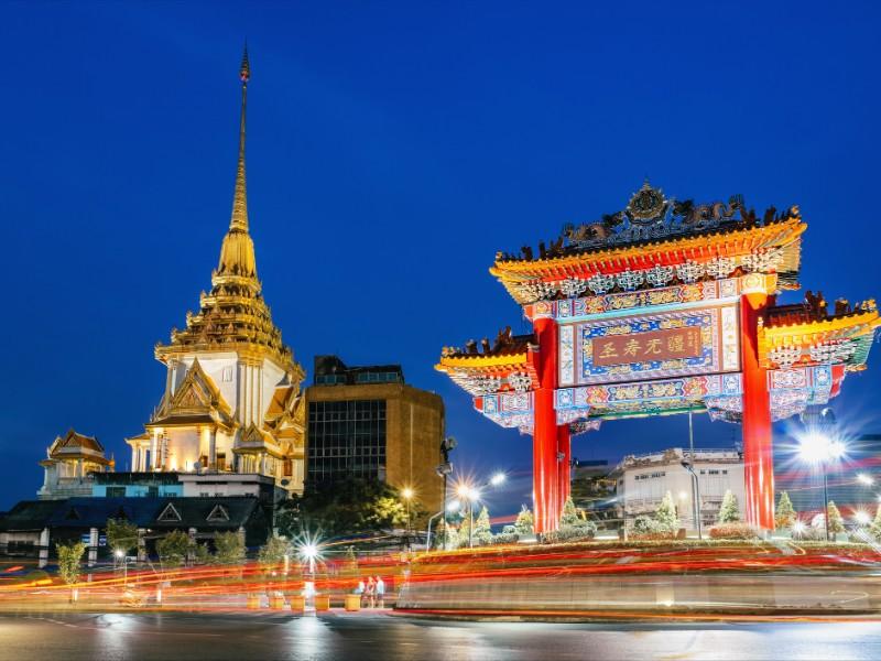 The gate to Chinatown in Yaowarat at night, Bangkok