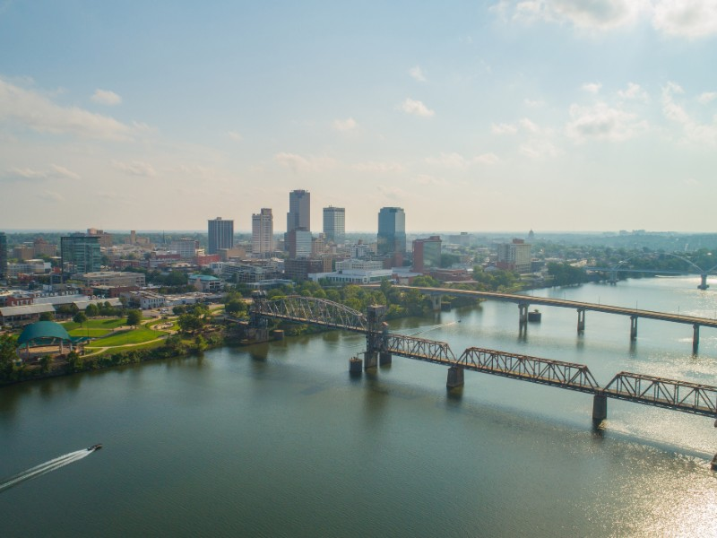 Aerial drone image of Little Rock