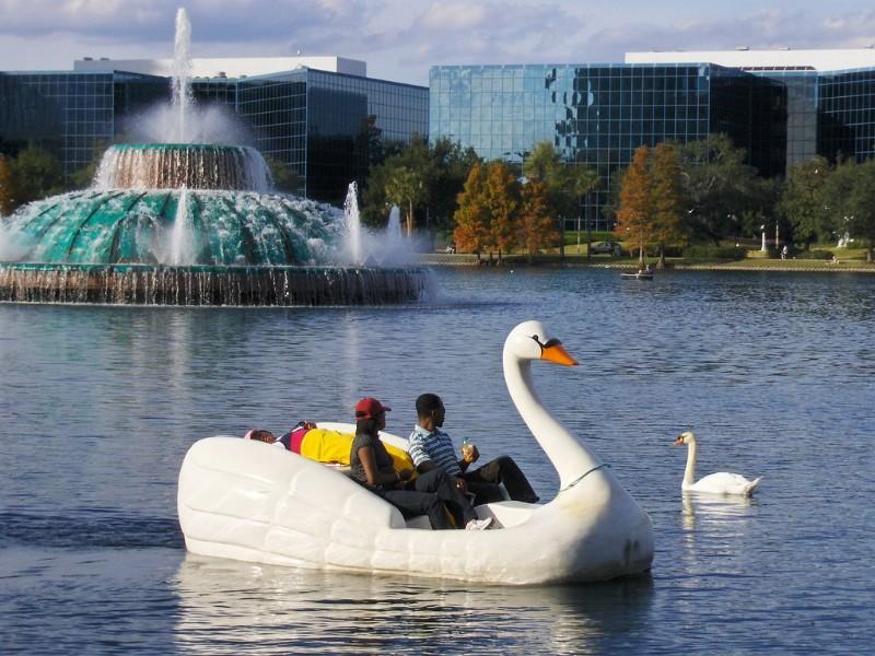 couple on a Swan Boat, Lake Eola