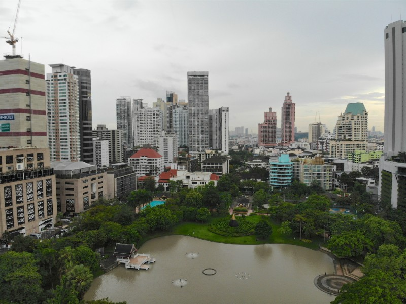 Aerial view Benchasiri Park next Sukhumvit street